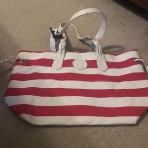 Dooney & Bourke red and white striped bag